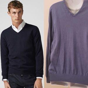 Size L Massimo Dutti Cotton Silk V-Neck Sweater